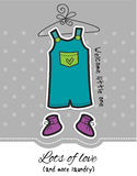 Baby boy overall and booties on dotted grey background. Baby Shower card / Baby boy overall and booties on dotted grey background / Its a boy design card / Lots stock illustration