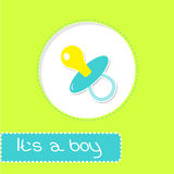 Baby boy pacifier. Shower card Stock Image