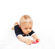 Baby boy and pacifier Stock Photos
