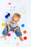 Baby boy paints Royalty Free Stock Photo