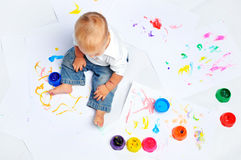 Baby Boy Paints Royalty Free Stock Photography