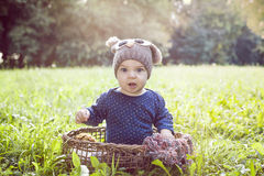 Baby boy in park Royalty Free Stock Photo