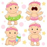 Baby boy 4 part. Set of illustrations of icons of baby of children of girls with a life ring, hysterical and crying, with a bottle of milk, and is standing royalty free illustration