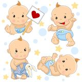 Baby boy 2 part. A set of illustrations of icons of baby of children of boy strikes with a sign, goes scary with the tongue sticking out, stands with a hare toy stock illustration