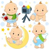 Baby boy 12 part. A set of illustrations of icons with a baby boy, sick with a thermometer and medicine medicine, a photo session is photographed, sits for a vector illustration