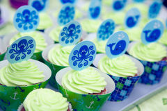 Baby boy party cupcakes Royalty Free Stock Photo
