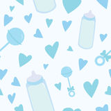 Baby Boy Pattern. A seamless pattern of blue baby related items Vector Illustration