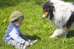 Baby boy and pet dog stock image