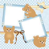Baby boy photo frame with teddy bear Stock Photo