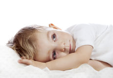 Baby boy on the pillow Stock Photos