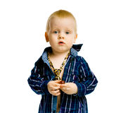 Baby boy in a plaid shirt and a tie. isolated. Baby boy in a plaid shirt and a tie. Studio. isolated Stock Images