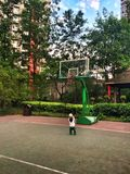 Baby boy play basketball Stock Images