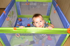 Baby boy in play pen Stock Images
