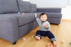 Baby boy play toy block Stock Images