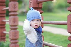 Baby boy on playground. Baby boy age of 11 months on playground Royalty Free Stock Image