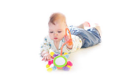 Baby boy playing. On the floor Royalty Free Stock Image