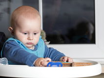 Baby boy playing with abacus Stock Photography