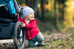 Baby boy playing in autumn forest with stroller, outdoors fun. Happy child on hiking trip in woods Stock Photos