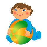 Baby boy playing ball illustration. Isolated character on white background Royalty Free Stock Photos