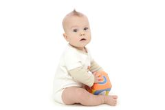 Baby Boy Playing with Block Stock Photography