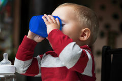 Baby boy playing with bottle and mug indoor Stock Images