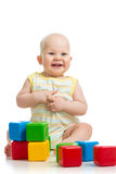 Baby boy playing with building blocks Royalty Free Stock Image