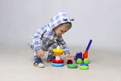 Baby Boy Playing. Cute Little Baby Boy Playing Toys stock photography