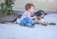Baby boy playing with a dog Stock Photo