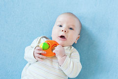 Baby boy is  playing with educational toys Stock Photo