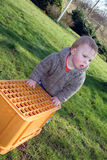 Baby boy playing in garden Stock Images