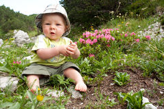 Baby boy playing outdoor stock images