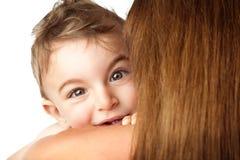 Baby boy playing peek-a-boo Royalty Free Stock Image