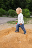 Baby Boy Playing in the Sandbox Royalty Free Stock Photography