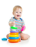 baby boy playing and smiling Stock Photos