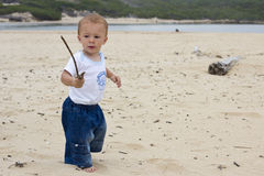 Baby boy on beach Royalty Free Stock Image
