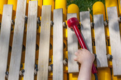 Baby boy playing take the mallet of wooden xylophone. He is at playground Royalty Free Stock Photo