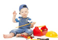 Baby Boy Playing Tools Toys, Child with Construction Tool Box. Isolated over White, Happy Kid one year old Stock Photography