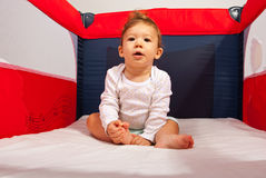 Baby boy in playpen Stock Photography