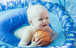 Baby Boy Plays in a Pool in Mexico Stock Photography