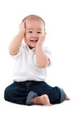Baby boy. Portrait of a cute asian boy sitting on the floor Stock Photo