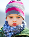Baby boy portrait outdoor in spring. Portrait of little baby boy in springtime Royalty Free Stock Photography