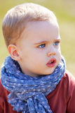 Baby boy portrait outdoor in spring. Portrait of little baby boy in springtime Royalty Free Stock Photo
