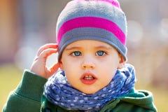 Baby boy portrait outdoor in spring. Portrait of happy little baby boy in springtime Stock Photos