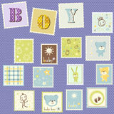 Baby boy postage. Cute set Stock Images