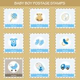 Baby boy postage stamps. Set of baby boy postage stamps Royalty Free Stock Photo
