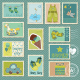 Baby Boy Postage Stamps stock illustration