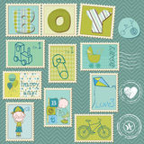 Baby Boy Postage Stamps. Nice Baby Boy Postage Stamps Stock Images