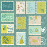 Baby Boy Postage Stamps. Arrival, announcement, congratulation Royalty Free Stock Image