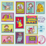 Baby Boy Postage Stamps. For design and scrapbook - in Royalty Free Stock Photography