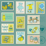 Baby Boy Postage Stamps. Arrival, announcement, congratulation Stock Images